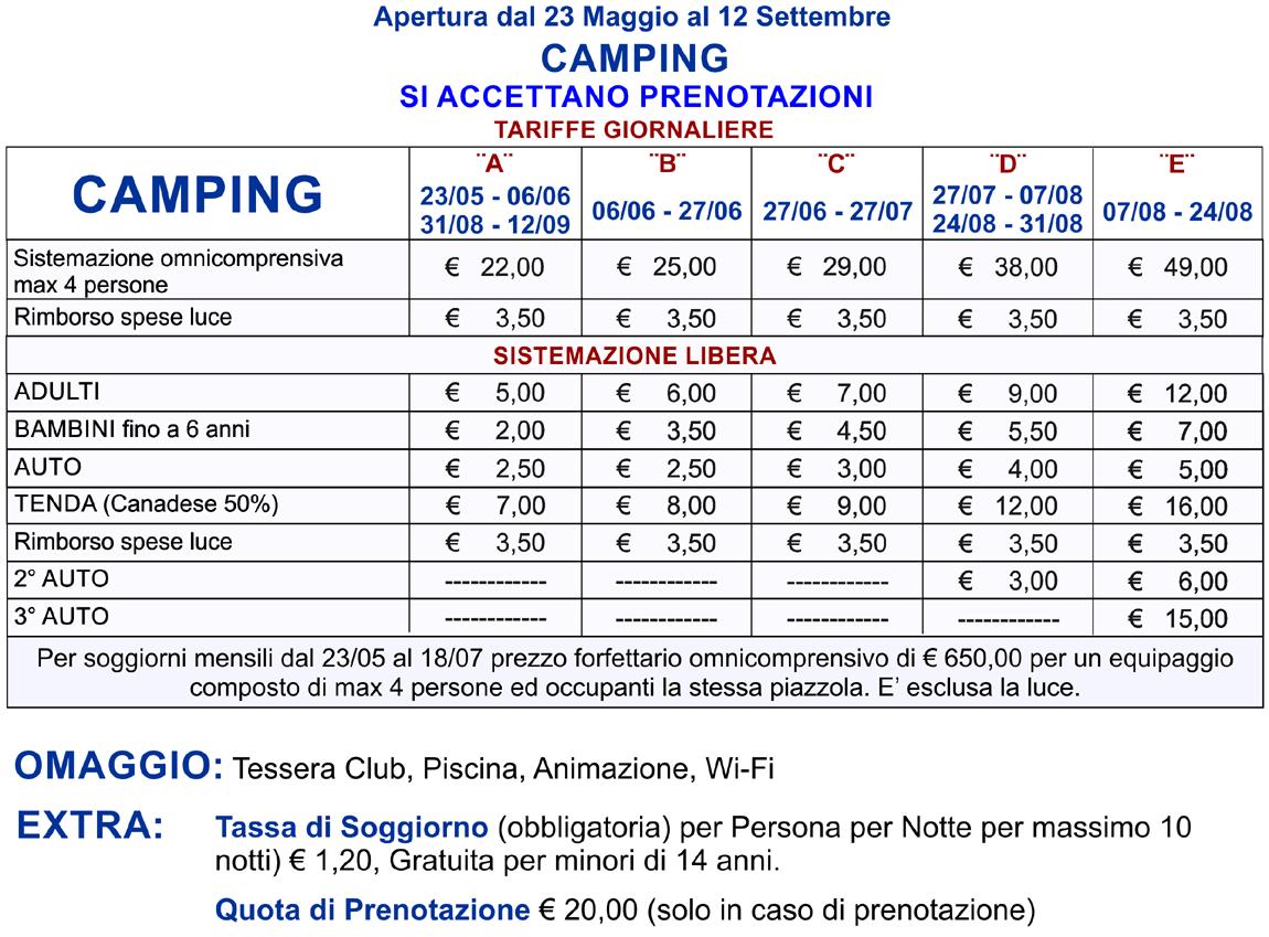 prezzi camping gargano